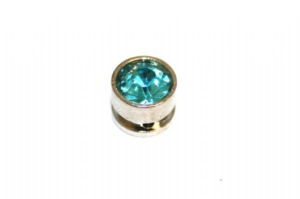 10pcs x 7mm*6mm Round metal bead with turquoise rhinestone -- 1 hole -- S.A -- WC214 -- 5000008